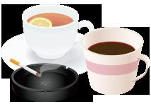 ●コーヒー、お茶、タバコ等による変色
